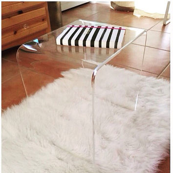 "Clear 3/8"" Thick Acrylic Lucite Side Table with Beveled Edges"