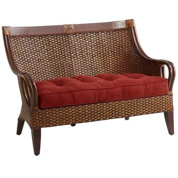 Temani Brown Wicker Settee