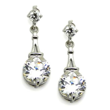 Eiffel Tower Earrings in silver: Cubic Zirconia