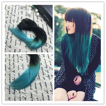 Full Shine 7 Pcs Clip in Hair Extensions Ombre Teal Human Hair Balayage Brazilian Clip in Remy Human Hair Extensions Full Head