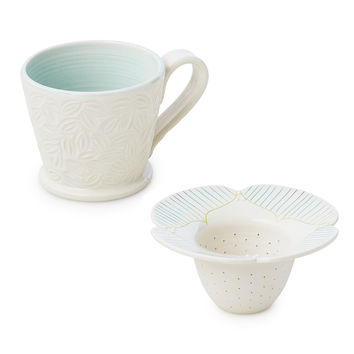Falling Leaves Mug and Tea Infuser | Ceramic Tea Steeper and Mug