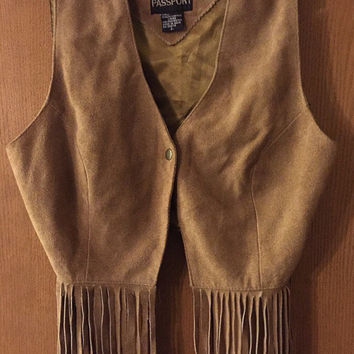 Vintage suede fringe festival hippie vest ladies size medium/large