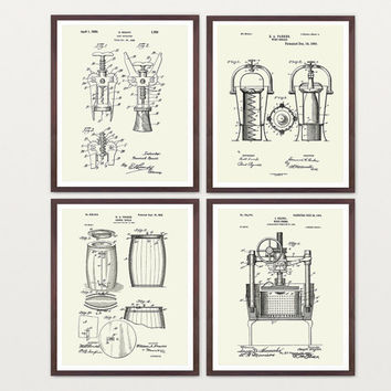 Inventions of Wine Patent Print Suite - Wine Patent - Wine Art - Wine Wall Art - Wine Decor - Wine Bar - Wine Rack - Cork Screw Wine Poster