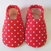 Red and White Polka Dot Baby Girl Shoe