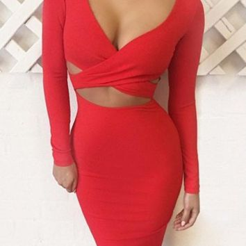 Red Plain Crop Cut Out Plunging Neckline Midi Dress