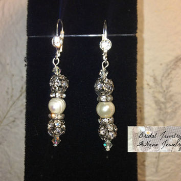 "Women's Earrings: Vintage Inspired Weddings/Bridal Earrings Pearl And Crystal ""Bella""  By ANena Jewelry"