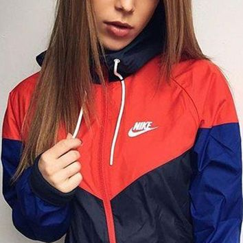 Nike Trending Unisex Casual Print Long Sleeve Hooded Zipper Cardigan Sweatshirt Jacket Coat Windbreaker Sportswear I