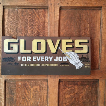 Wells Lamont Glove Sign, Original American Work Wear Display Sign, Vintage Advertising