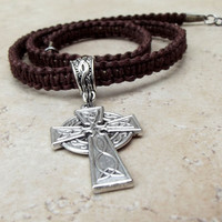 Father's Day Jewelry, Men's Celtic Cross Necklace, Chocolate Brown Macrame Hemp Cord Necklace, Man Gift