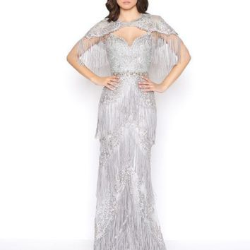 Mac Duggal - 50500D Embellished Fringed Sheath Evening Gown