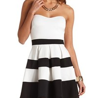 STRIPED SWEETHEART STRAPLESS SKATER DRESS