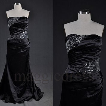Custom Black Beaded Long Prom Dresess Bridesmaid Dresses Party Dress Evening Dresses Party Dresses Wedding Party Dress Evening Gowns