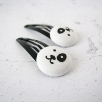 Puppy Hair Clips, Toddler Hair Clips, Black and White Kids Hair Clip, Toddler Girls Hair Accessory