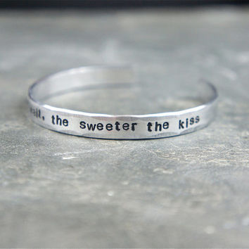 Longer the wait, sweeter the kiss bracelet. military jewelry, deployment usmc army navy usaf
