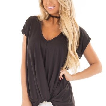 Black Short Sleeve Hi Low Top with Twist Front Detail