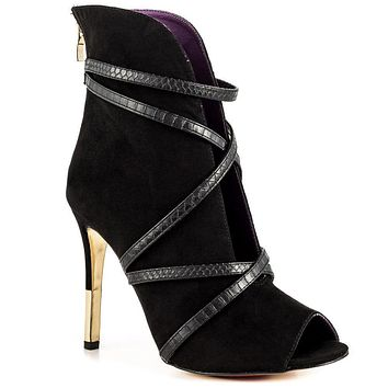 Luichiny Black Open Front Strappy High Heel Shoe Ankle Boots