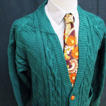 Vintage 90s Revival Chunky Cable Knit Green Grunge Cardigan Large