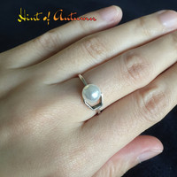 Fresh Water Pearl Ring, sterling silver ring. adjustable ring. open ring. statement ring. wedding, bridal, bridesmaid, June birthday gift