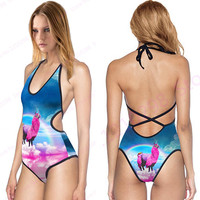 Swimsuit Women One Piece V neck Rainbow Unicorn Bikini Printed Strappy Bodysuit Sexy Backless Bathing Suit For Girls