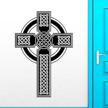 Wall Stickers Vinyl Decal Celtic Cross Irish Ireland Druids Religion Unique Gift (ig1732)