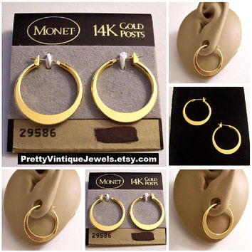 Monet Small Flat Band Hoop 14K Gold Post Pierced Stud Earrings Vintage Round Smooth Polished Reflective Open Graduated Surgical Steel Rings