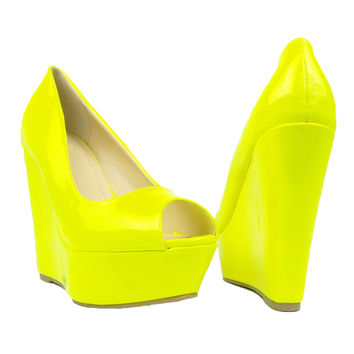 Womens Platform Sandals Patent Leather Peep Toe Wedge High Heel Shoes Yellow SZ