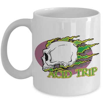 Acid Trip Skull Rip Flames 11oz White Coffee Mug