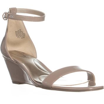 Bandolino Omira Wedge Ankle Strap Sandals, Light Natural, 6 US