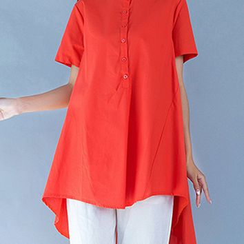 Streetstyle  Casual High-Low Band Collar Plain Blouse