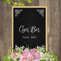 Cigar Bar sign, Wedding printables, Chalkboard wedding decorations, DIY wedding decor, Country vintage wedding sign, Rustic wedding theme