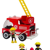 Hape Happy Bendable Firemen and Wooden Firetruck with Dog & Accessories