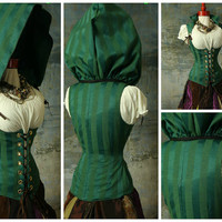 Waist 41-43 Green Arrow Vixen Corset with Detachable Hood