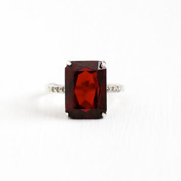 Vintage Art Deco Sterling Silver Simulated Garnet Ring - Size 8 Statement Emerald Cut Dark Red Glass Stone Signed Theda Statement Jewelry