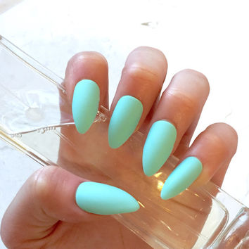 Matte Mint Green Fake Nails - Kitten Claws - Talon/Stiletto Shape - Matte Seafoam - Glue On - Pop-On Manicure - Pastel Press-On Nails