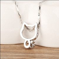Stylish Jewelry Shiny New Arrival Gift 925 Silver Korean Simple Design Pendant Necklace [8080529863]