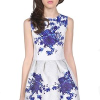 Sheinside White Sleeveless Porcelain Print Flare Dress