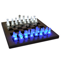 LED Glow Chess Set Blue / White by Lumisource