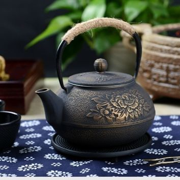 Cast Iron Pot Uncoated Iron Teapot Southern Japan, Japanese Peony  Iron Kettle Pot  900ml