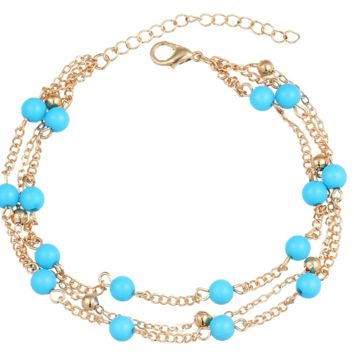 Simple retro wild rice beads blue beaded double chain anklet bracelet