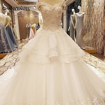 LS63227 special wedding dresses lace ball gown corset back wedding gowns 2018 robe de mariage real photos