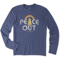 Men's Peace Rainbow Long Sleeve Cool Tee