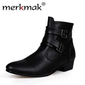 New 2018 british style casual men ankle boots heels Martin Boots Men Leather Boots