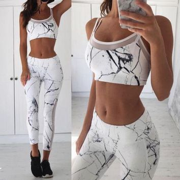 Modern Printed Art Fitness Pants & Top Set