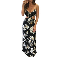 Boho Floral print chiffon maxi dresses Lady Sling Strapless Hollow Out Backless Beach  Sexy Women Long Dress Vestidos #63 BL
