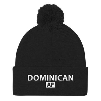 Dominican AF Beanie with Pom Pom Knit Cap / Dominican hat / Republica Dominicana