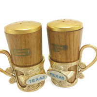 Vintage Texas Souvenir Salt and Pepper Shakers, Collectibles, Kitchen Decor, Wood Shakers with Plastic Holders, TX, Texan, Country, South