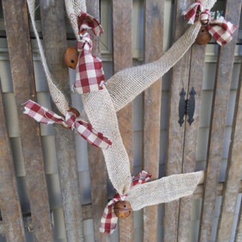 Burlap Garland -Christmas Garland - Rusty Bells ~ Rustic Christmas - Christmas Tree Garland - Burgundy -  Rag Garland - Holiday Decor