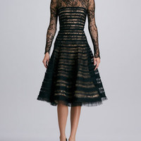 Oscar de la Renta Ribbon-Striped Lace Dress, Black