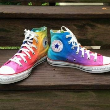 ONETOW Custom Hand Painted Rainbow HIGH TOP Converse Tie Dye Rainbow Ombre Hi Top Converse Sh