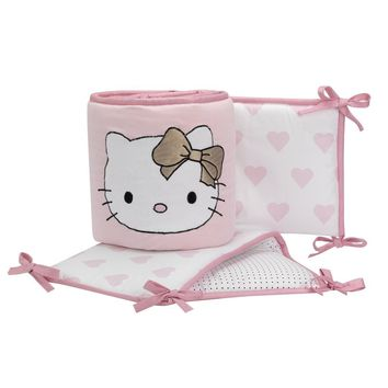 Lambs & Ivy Hello Kitty Pink/Gold/White Hearts 4-Piece Baby Crib Bumper